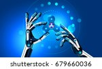 hand spinner toy in robot hands.... | Shutterstock .eps vector #679660036