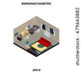 freelancer or worker isometric... | Shutterstock .eps vector #679663882