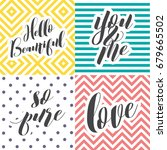 colorful love lettering set   Shutterstock .eps vector #679665502