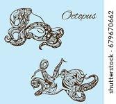 octopus set. vector... | Shutterstock .eps vector #679670662
