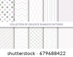 collection of seamless delicate ... | Shutterstock .eps vector #679688422
