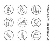 vector cosmetic icons. mascara  ... | Shutterstock .eps vector #679689532