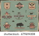 vintage grill and steak house... | Shutterstock . vector #679694308