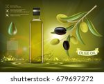 glass bottle with oil and... | Shutterstock .eps vector #679697272