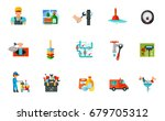 plumber and cleaning icon set | Shutterstock .eps vector #679705312