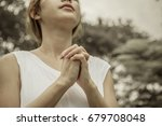 Woman Hands Praying In The Park