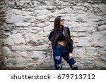 woman with a backpack walking... | Shutterstock . vector #679713712