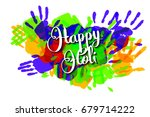 happy holi on a background of... | Shutterstock . vector #679714222