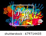 happy holi on a background of...   Shutterstock . vector #679714435