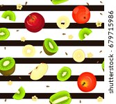 seamless pattern of ripe kiwi... | Shutterstock . vector #679715986