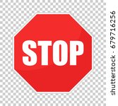 red stop sign vector icon.... | Shutterstock .eps vector #679716256