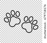 paw print vector icon in line... | Shutterstock .eps vector #679718176