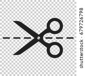 scissors icon with cut line.... | Shutterstock .eps vector #679726798