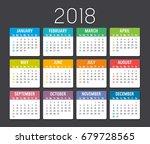 colorful year 2018 calendar... | Shutterstock .eps vector #679728565