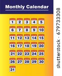 orange monthly calendar vector | Shutterstock .eps vector #679733308
