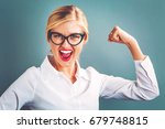 powerful young woman on a gray... | Shutterstock . vector #679748815