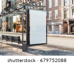 bus station with blank banner... | Shutterstock . vector #679752088