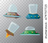 Vector Cartoon Flying Saucer...