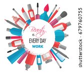 cosmetic background with quote  ... | Shutterstock . vector #679760755
