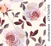 seamless rose pattern   Shutterstock .eps vector #679763458