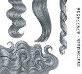set of shiny long grey fair... | Shutterstock .eps vector #679774516