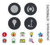 golf ball icons. laurel wreath...   Shutterstock .eps vector #679806292
