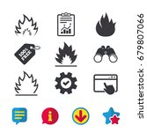 fire flame icons. heat symbols. ...