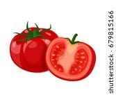 tomato vector  whole and part.... | Shutterstock .eps vector #679815166