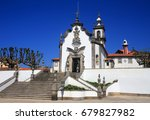 Small photo of Portugal, Minho Region, Viana do Castelo, the Chapel of Our Lady of Sorrows - Nossa Senhora da Agonia. A beautiful 18th century granite and whitewash baroque church. Unusual lighthouse in background.