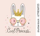 cute rabbit. cool princess   Shutterstock .eps vector #679836955