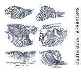 drawing sea or ocean waves.... | Shutterstock .eps vector #679841848
