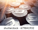 dash coins in blurry closeup... | Shutterstock . vector #679841932