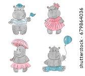 Set Of Cute Cartoon Baby Hippo...