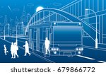 pedestrian arch bridge. people... | Shutterstock .eps vector #679866772