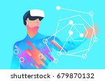 Stock vector enthusiastic man using virtual reality glasses and touching vr interface vector illustration 679870132