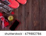 fitness concept with mobile... | Shutterstock . vector #679882786