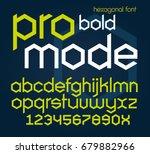 hexagonal futuristic bold font. ... | Shutterstock .eps vector #679882966