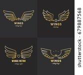 gold wings outline logo vector...   Shutterstock .eps vector #679887568