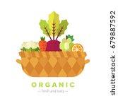 fruit and vegetable basket flat ...   Shutterstock .eps vector #679887592