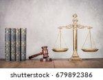 bronze law scales  wooden gavel ... | Shutterstock . vector #679892386