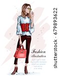 cute stylish girl in fashion... | Shutterstock .eps vector #679893622