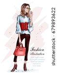 cute stylish girl in fashion... | Shutterstock .eps vector #679893622