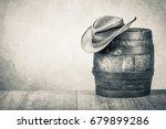 wild west old retro hat and oak ...   Shutterstock . vector #679899286