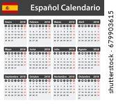 spanish calendar for 2018.... | Shutterstock .eps vector #679903615
