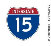 interstate highway 15 road sign  | Shutterstock .eps vector #679903912