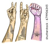 set of rock and roll music hand ... | Shutterstock .eps vector #679906345