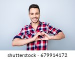 young cheerful brunet on the... | Shutterstock . vector #679914172