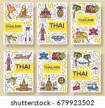 thailand thin line brochure... | Shutterstock .eps vector #679923502