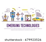 technology thin line icons set. ... | Shutterstock .eps vector #679923526