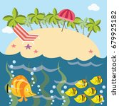beach and sea life cartoon... | Shutterstock .eps vector #679925182